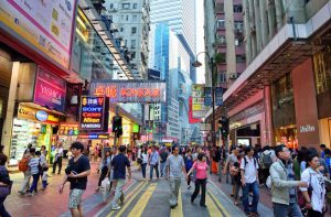 Walking Street in Shopping area of Causeway Bay, Hong Kong. Photo taken on: October 20th, 2013